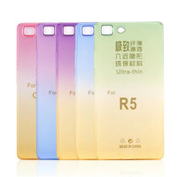 Factory price colorful gradient color change soft back clear ultra thin cover case for OPPO R5 TPU case cover