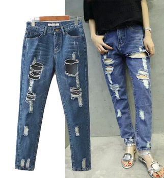 C74329A Latest fashion women ripped jeans slim sexy women jeans