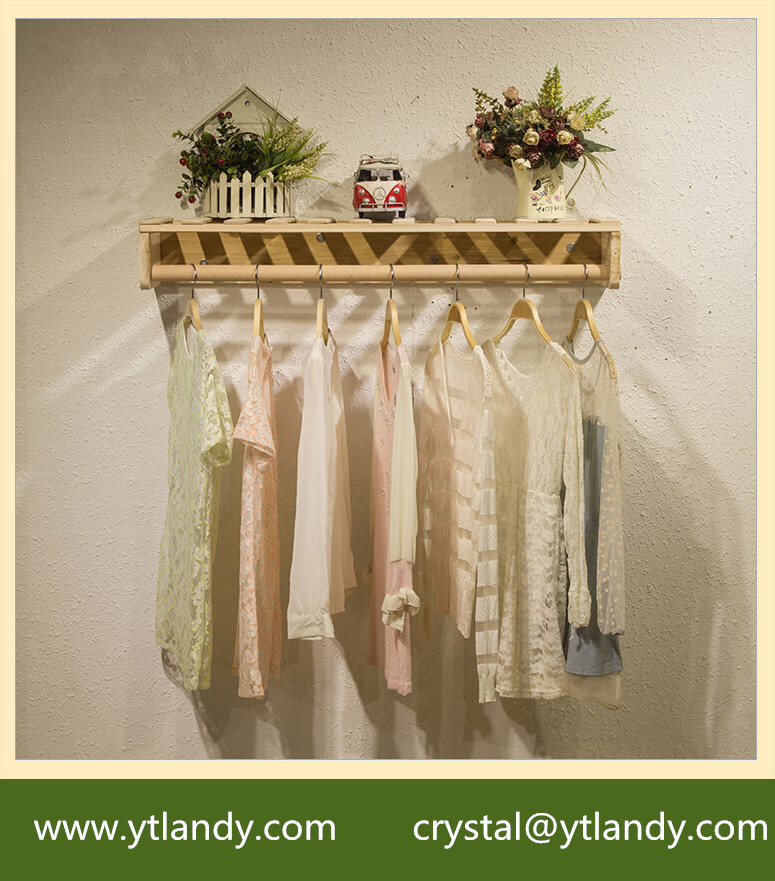 Retail store wood display shelf wooden clothes display rack