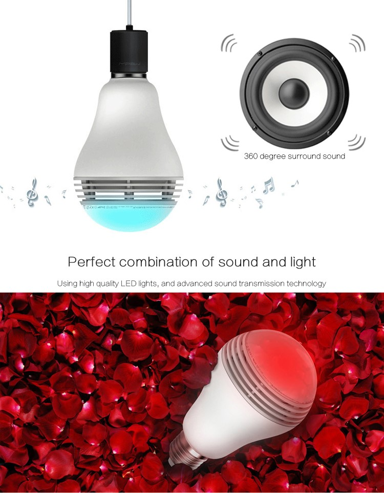 Wireless Bluetooth 4.0 Speakers E27 LED Light Lamp Bulb Speaker Smartphone Controlled Dimmable Color Changing Lights