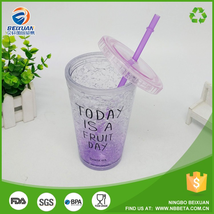 Double walled insulation tumbler Ice cup maker freezer beer mug with a lid and straw