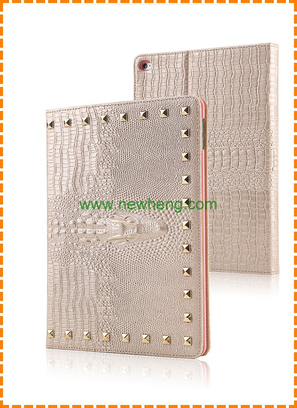 High Quality Crocodile Pattern Leather Stand Back Case for iPad Mini 4