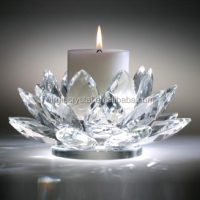 High Quality K9 Crystal Lotus Flower Candle Holder For Wedding Favors Or Home Decortion