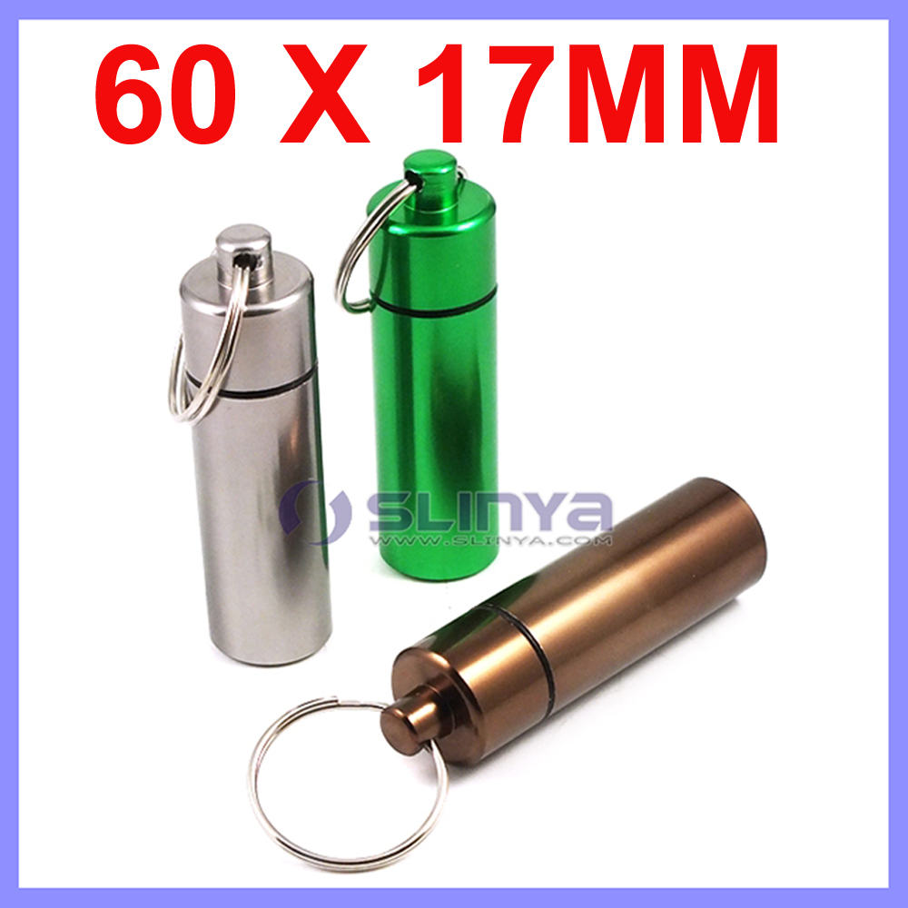 2.36 X 0.66 Inch Big Size Aluminum Alloy Keychain Mini Pill Case Al Metal Pill Box