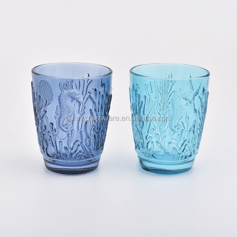 Luxury embossed glass candle holders for home decor