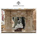 Hand-craved natural double sided fireplace mantel