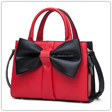 Wholesale lady lovely red trend leather authentic designer handbag with bowknot