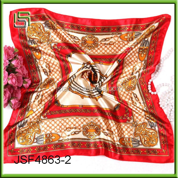 Flight attendants small square Yiwu printing satin scarf