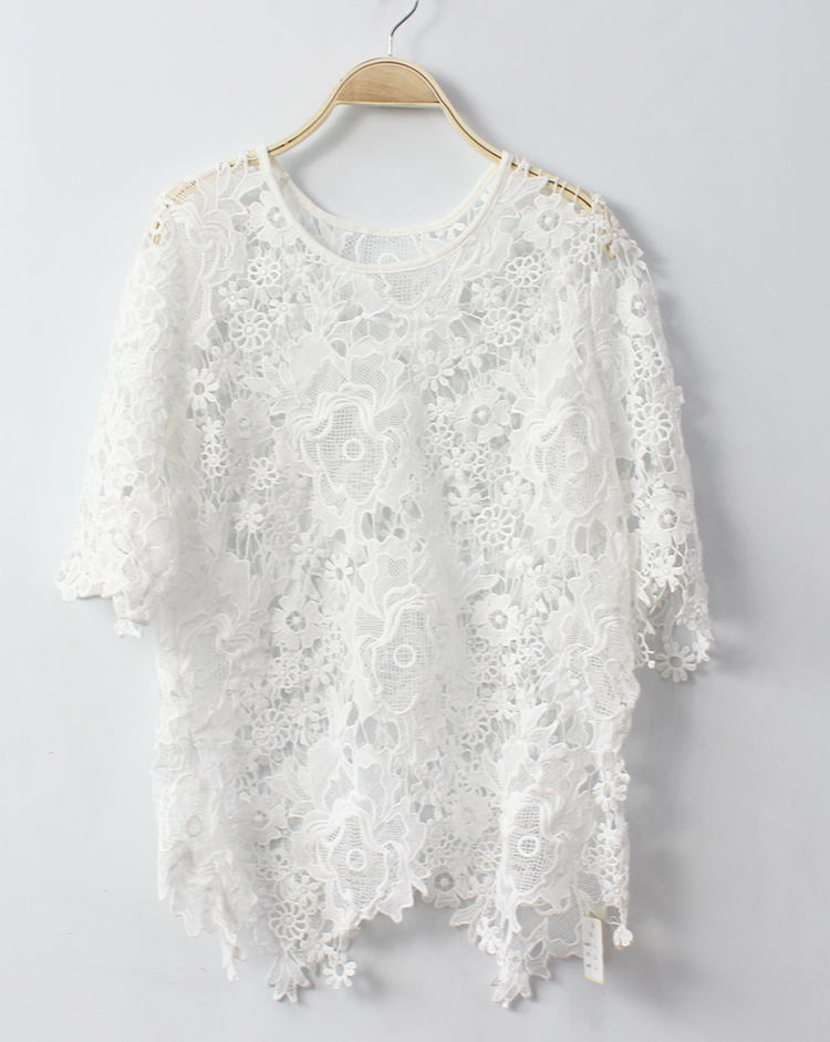 Elegant lace blouse white for women new fashion tops