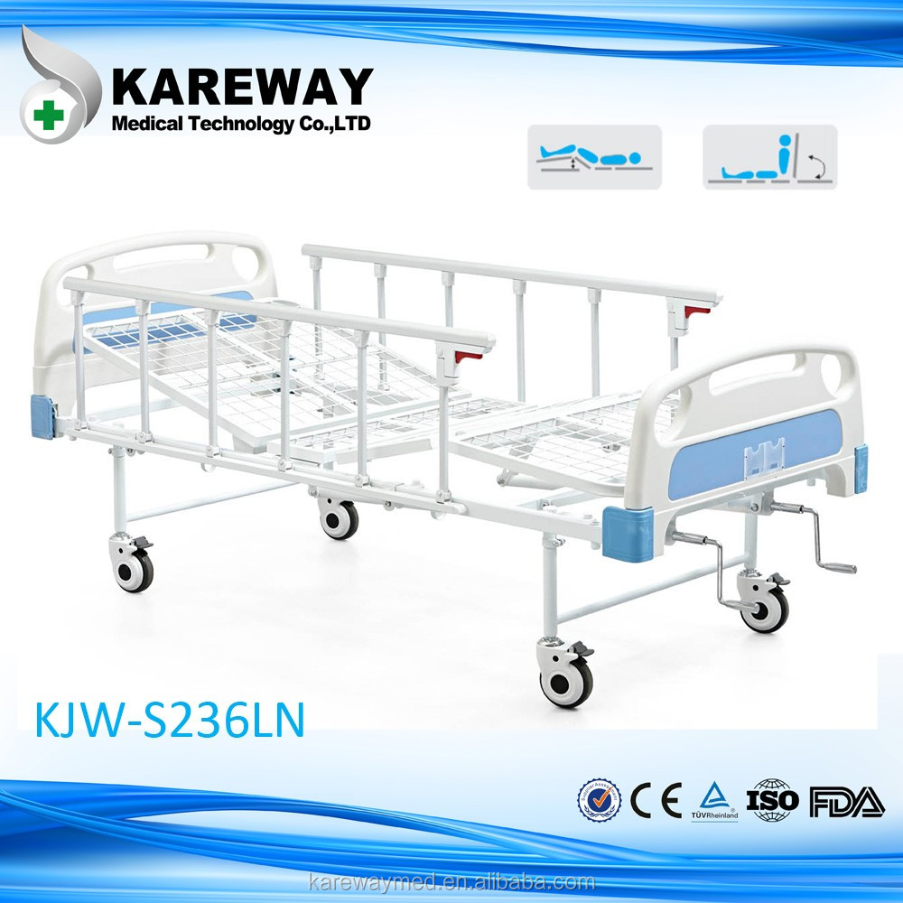 luxury manual two crank hospital medical bed with toilet