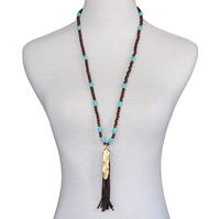 2015 New Fashion Vintage Wood Bead Tassel Statement Long Necklace Designs