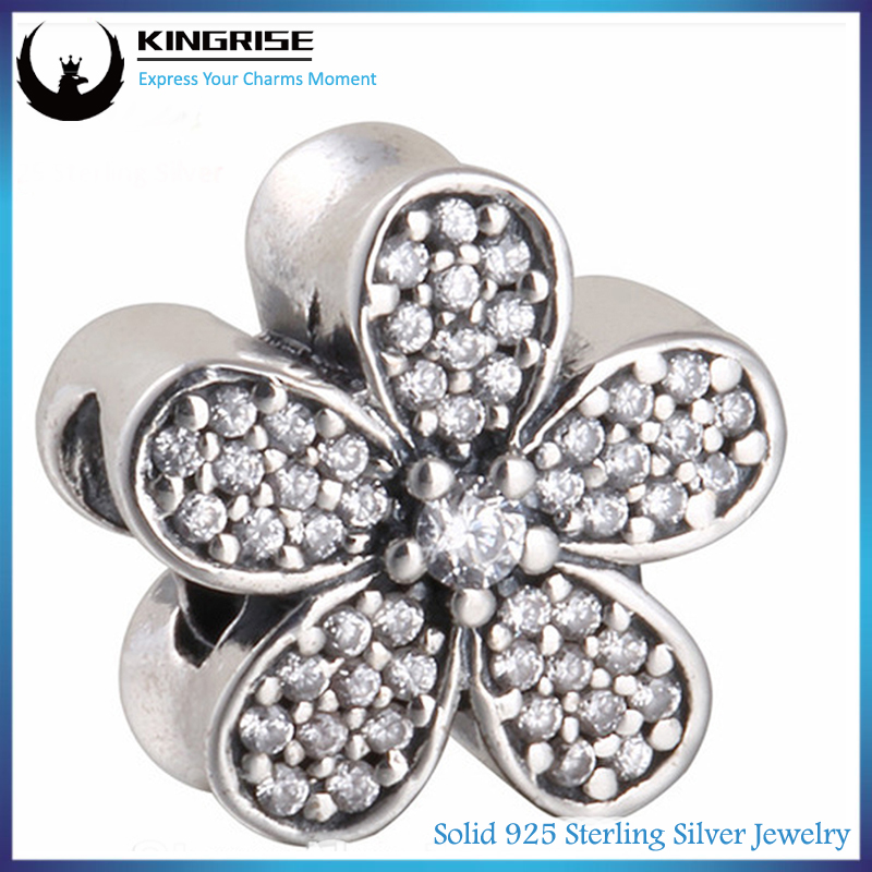 Threaded core 925 sterling silver Daisy series flower Charm with Clear Cz bead fit european charm bracelets
