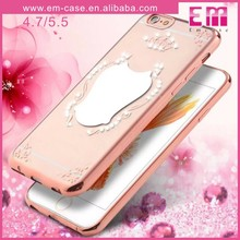 Mobile Phone Diamond TPU Mirror Case For iPhone 6/6 Plus Clear Rubber Case