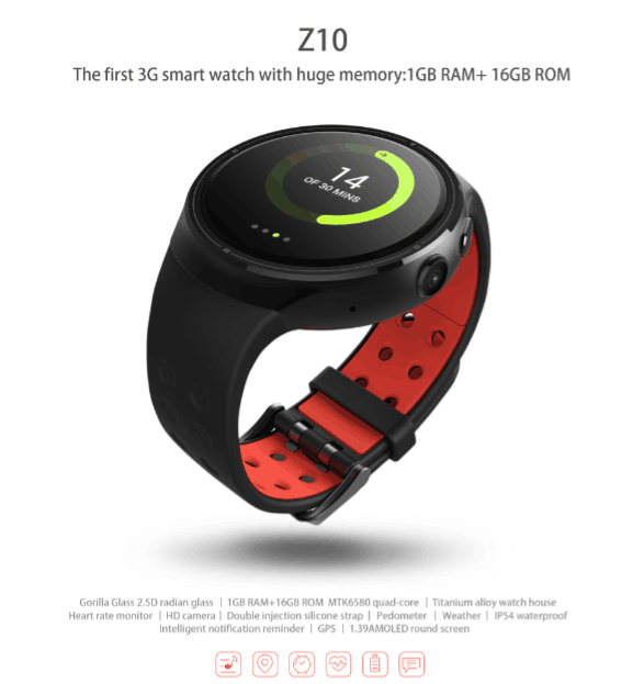 new arrival Smart Watch Z10 Android 5.1 BT 4.0 GPS 1GB/16GB smartwatch for <strong>apple</strong> android dropshipping