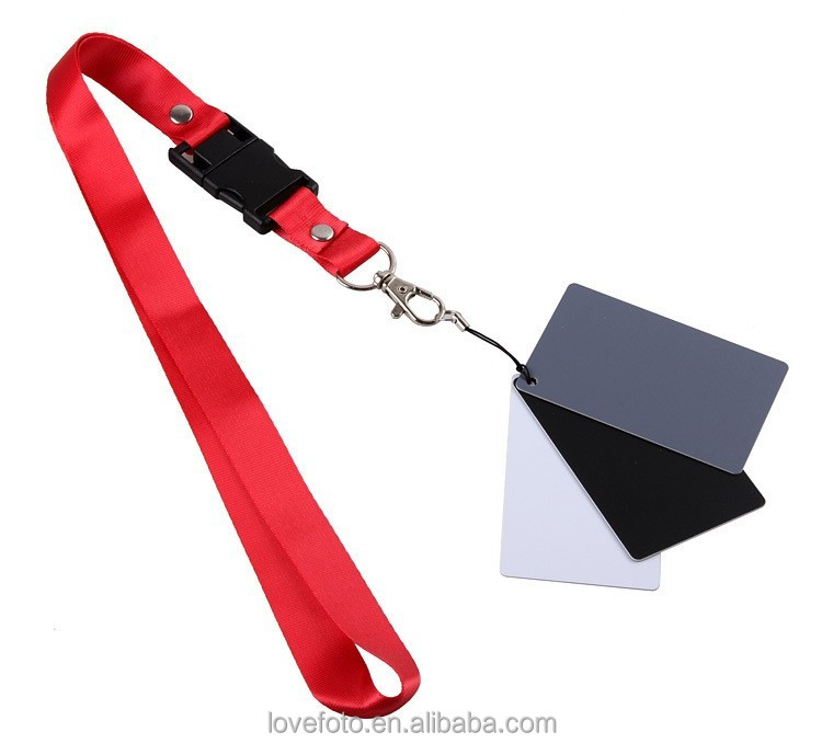 Digital Grey Card 8.5x5.5cm White Black 18% Gray Color Balance Card Filter with Strap for DSLR Camera