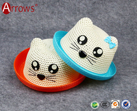 China High Quality Kitty Paper Straw Hat for Kids Children 5-14 Y Little Girls for Party and Carnival