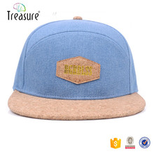 3d embroidery hats leather sticker flat brim custom hat for men 5 panels snapback cap