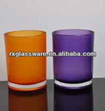 2013 hot saling color painted frosted glass candle jar set