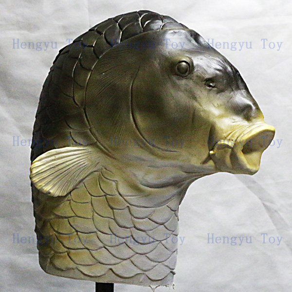 Eco-friendly Realistic High Quality rubber halloween mask Fancy Dress Rubber Latex Full Face Fish Mask for Party
