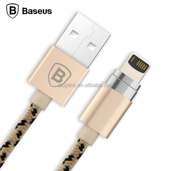 Original Baseus Insnap Series 1m 3.3ft Magnetic Adsorption Nylon Braided Wire For Apple USB Cable For iPhone IOS 9 Adaptor
