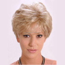 Short Fluffy Human Hair Wigs For White Women multi-layered Curly Blonde Wig