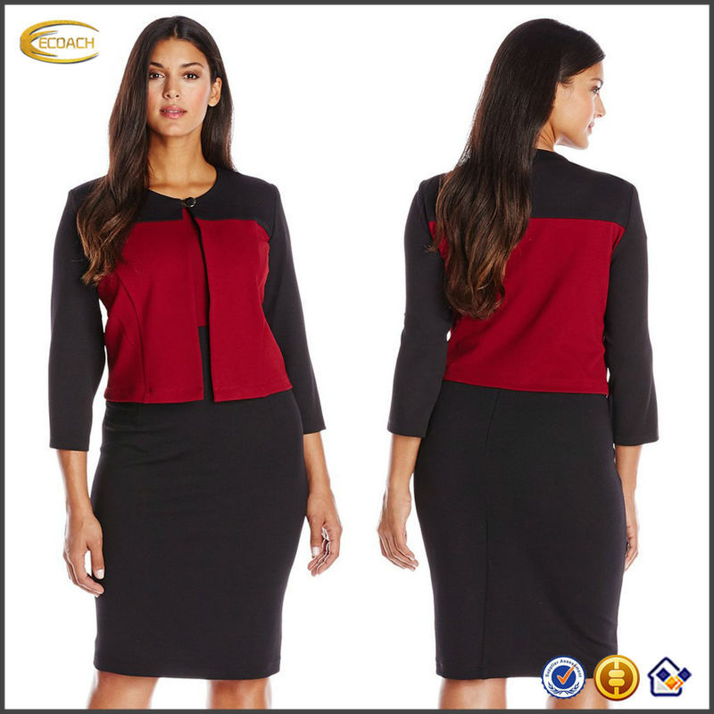 OEM wholesaler Plus Size Long Sleeve 2 Piece Jacket formal office dresses for women lady suit