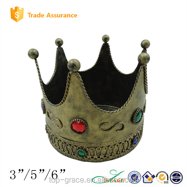 New design for christmas decoration art metal Imperial crown with candle