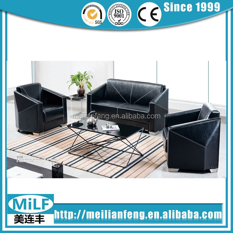 Executive office leather sofa bench waiting room reception sofa with diamond of angle