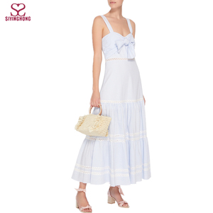 Ladies New design Tiered Cotton-Blend Maxi Dress