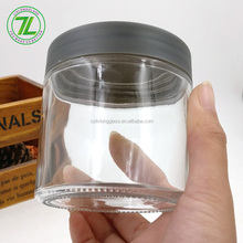 food grade packaging 8oz 220ml clear straight sided glass jar with matte plastic lids