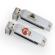 Metal material custom logo printing beer bottle opener shape usb flash drive memory stick