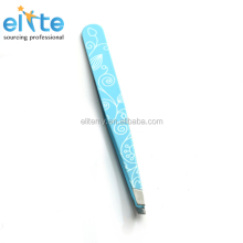 White Stainless Steel eyebrow tweezers with printed