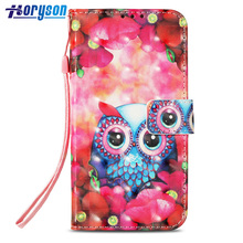 3D Colored Painting PU Leather + Soft TPU Wallet Cover Mobile Phone Case for iPhone X