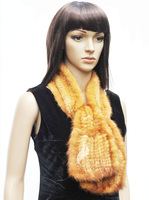 CX-S-144 Genuine Hand Knitted Mink Fur Bell Bottom Scarf