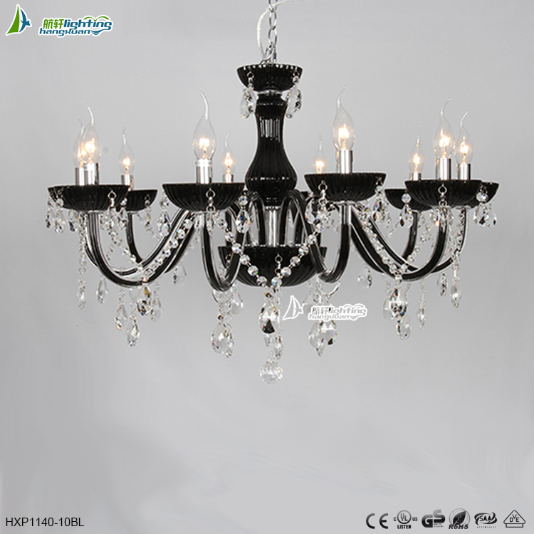 2015 10 arms small crystal black chandelier for decorationHXP1140-10BL