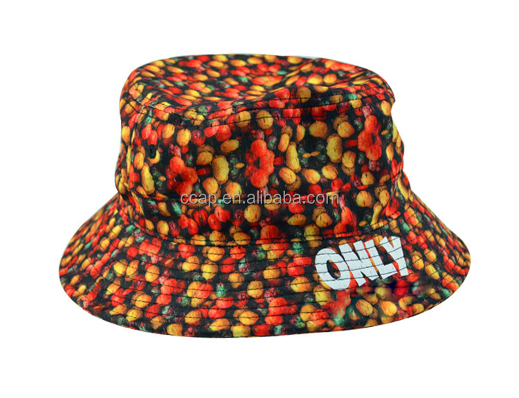 100% Polyester Wide Brim Sublimation Printing Fisherman Hat