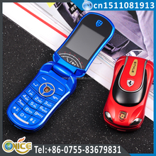 F9 2015 hot selling dual sim card sport car model unlocked flip phones for germany quad band with horse race lamp