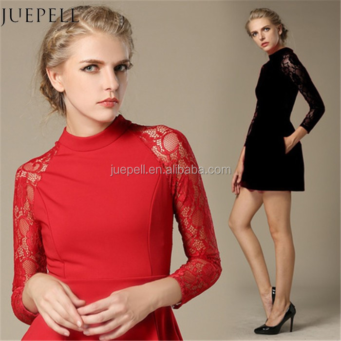 hot sale new Design red lace long sleeve lady dress High quality customer OEM short slim for Europe women dress in guangzhou