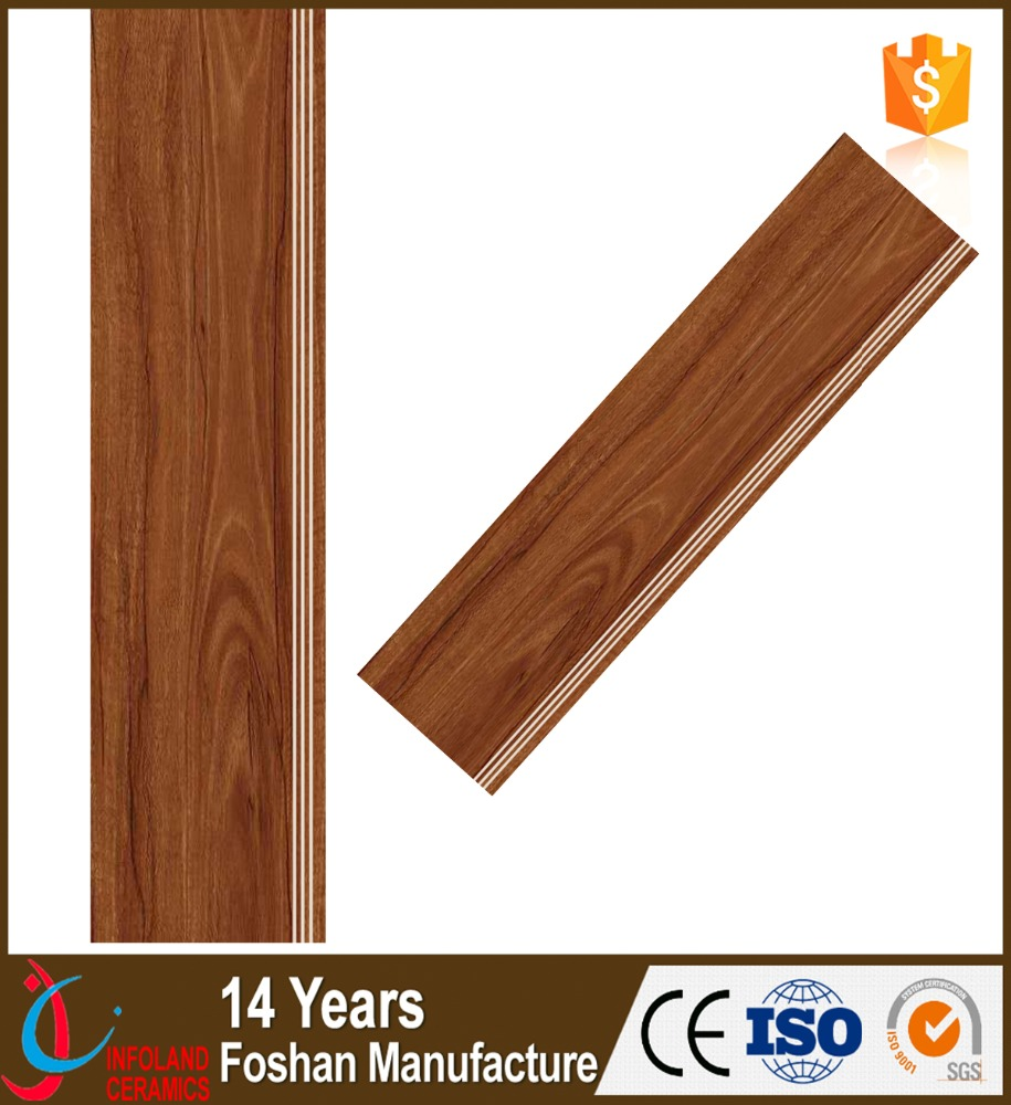 Wooden design ceramic step tile WS12001 1/1.2 meter Philippines ceramic floor stair tile