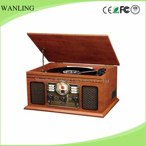 5 In 1 Function Turntable Record Player With Lcd Indicator Stereo Casstte Tape Player Function