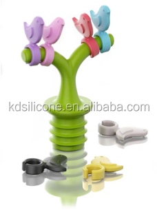 Silicone Tree <strong>wine</strong> stopper with bird glass marker