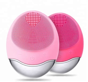 High quality Wireless charging face brush silicone waterproof face brush cleansing facial brush in red/green/pink