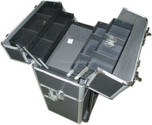 new design Aluminum make up trolley beauty case in black ,china aluminum cases trolley beauty case ,size :620*330*200MM