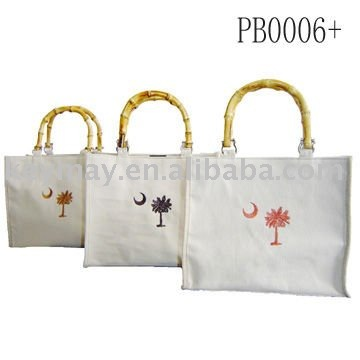 canvas zipper closure tote bag with bamboo handle bag