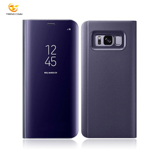 Top Selling Clear View transparent Flip Electroplating PC Mirror phone Case for samsung galaxy s8