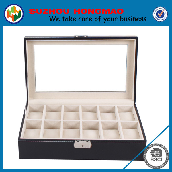 Elegent wooden paper glass display watch boxes for men