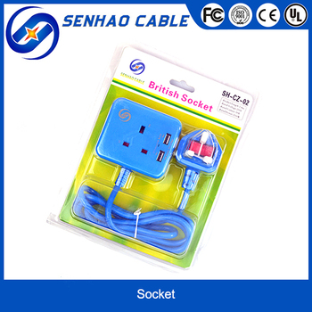 UK Plug with Socket and USB Port for Travel