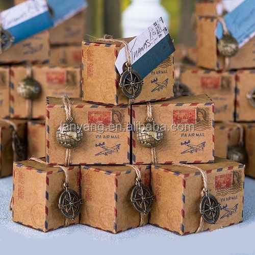 Vintage Inspired Airmail Wedding party favor boxes