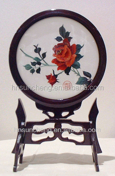 Rose- silk <strong>art</strong> 100% handmade double-faceded embroidery with frame