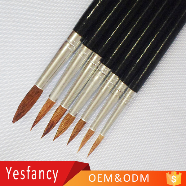 china factory wool hair round head wooden watercolor paint brush pen arts and crafts